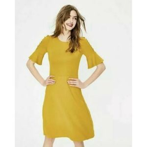 Boden Alexis Jersey Knit Fitted Dress Mustard
